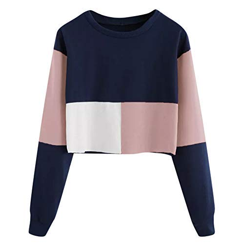 iHENGH Sweatshirt Damen,Women Herbst Casual Color Patchwork Sweatshirt -