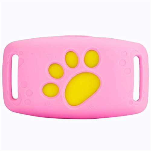Danm GPS Pet Tracker, Locator Intelligente Anti-Drop wasserdicht, Mini Wearing Wireless Smart, Zaun Alarm - Alarm bei schwacher Batterie - für die meisten Haustiere Pink