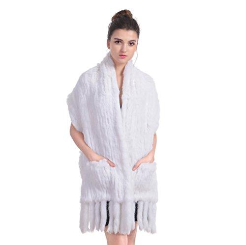 Scialle della pelliccia del coniglio - le nappe invernali del scialle della pelliccia del knit realmente avvolgono le donne il cappello caldo con le nappe (bianca)