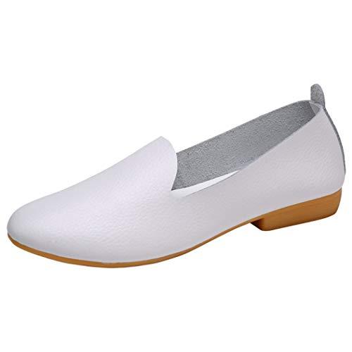 Frauen Wohnungen Schuhe Klassische runde Kappe Slip on Low Block Heel Weiß Schwarz Bootsschuhe -