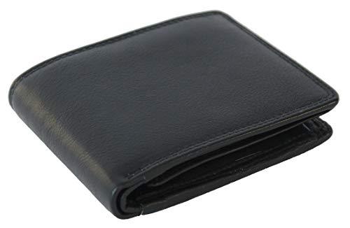 Geldbörse aus echtem Leder | hochwertige Verarbeitung mit Doppelnähten | stabiles Portemonnaie | Herren Brieftasche in schwarz | innenleder