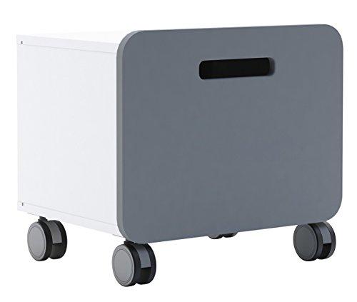 Nachtkommode Grau/weiß Nachttisch Nachtkonsole Nachtkästchen Nako  Abladetisch Kinderzimmer Jugendzimmerkommode Nachtschrank Rollcontainer