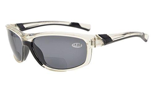 Eyekepper Mode Sport Bifokale Sonnenbrille TR90 Unzerbrechlich Draussen Leser Baseball Laufen Angeln Fahren Golf Softball Wandern Klar Rahmen Grau Linse +2.0 - Klar 2.0 Objektiv