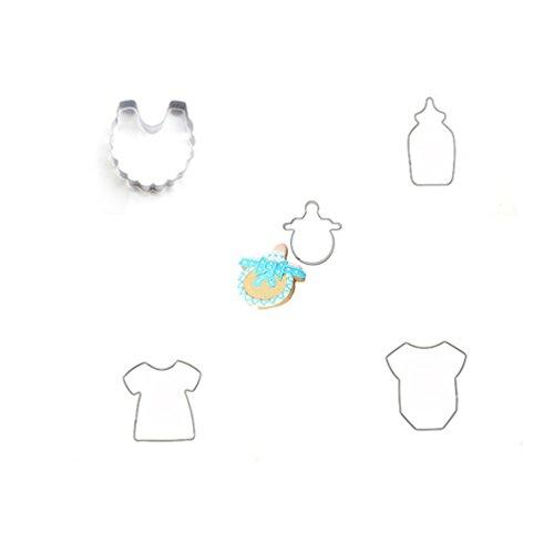 Albeey 5 Stück Milchflasche Kinderwagen Ausstecher Edelstahl Ausstechform Keksform (Kinderwagen Ausstecher 4)