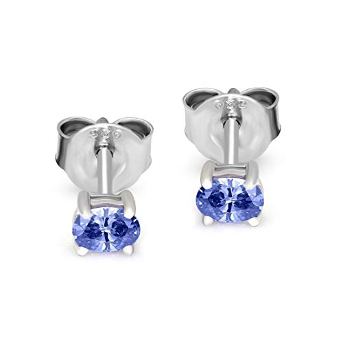 1fae52af1 Natural Diamond 1/4 cttw Tanzanite Stud Earrings For Women 925 Sterling  Silver Solitaire Earring