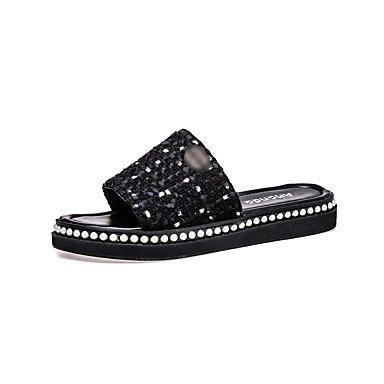 LQXZM La femme Chaussons & amp; tong sandales confort pu été Robe Casual Party & amp; soir quelques bottes mode Beading Talon plat Blanc Noir Black