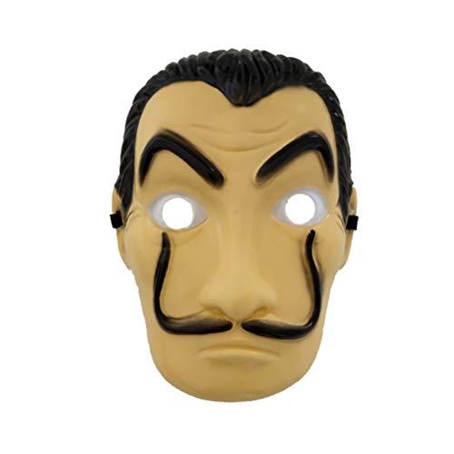 HUPLUE Gesichtsmaske für Halloween, Cosplay, Salvador Dali Original La Casa De Papel Mascara Geld Heist PVC Maske Realistische Film-Requisite Gesichtsmaske, S