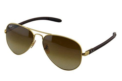 Ray Ban Unisex Sonnenbrille Aviator Carbon Fibre, Gr. Large (Herstellergröße: 58), Mehrfarbig (Gestell: Gold/Braun, Gläser: Braun Verlauf 112/85)