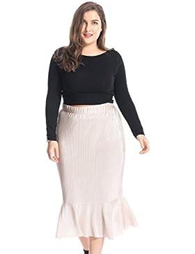Chicwe Faldas Tallas Grandes Mujeres Cintura Elástica Falda Plisada con Lámina plateado 1X-4X
