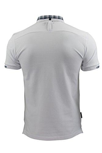 VOI Herren Poloshirt, Einfarbig Blau Blau Weiß - Weiß