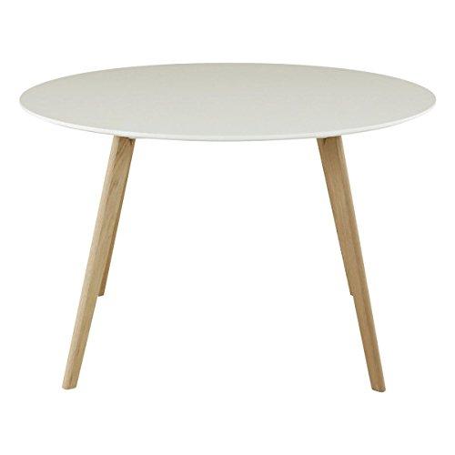Id'Click Table Ronde laqué Blanc 120 cm Scandie