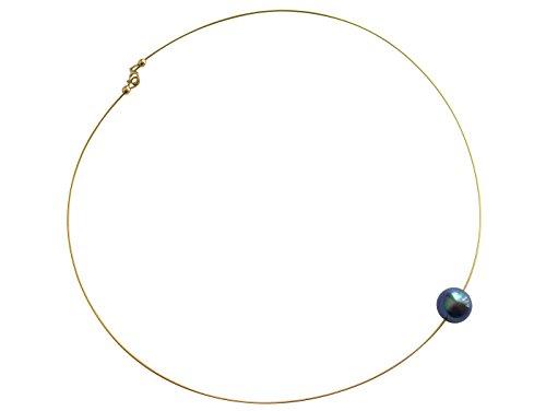 GEMSHINE Damenhalskette mit grauer Perle. 45 cm lange 925 silberne oder hochwertig vergoldete Perlenkette - Made in München/Germany - Im eleganten Schmucketui mit Geschenkverpackung geliefert.