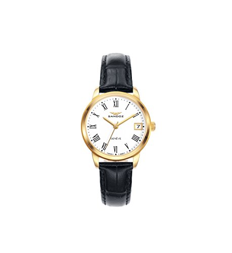 Sandoz Steel PVD Gold Strap Leather