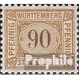 Württemberg 90 pfennig con marca de agua Cruces y Anillos 1906 Staatsbahnen (sellos para los coleccionistas)