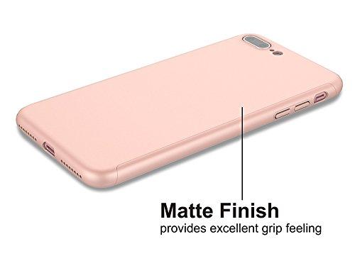 Custodia iPhone 7 Full Body Ultra Sottile Morbido TPU Protettiva Cover Case + Vetro Temperato Proteggi Schermo 3 in 1 Design Front & Indietro Caso&Vetro Film Lusso Protezione Completa (Rosso) oro rosa