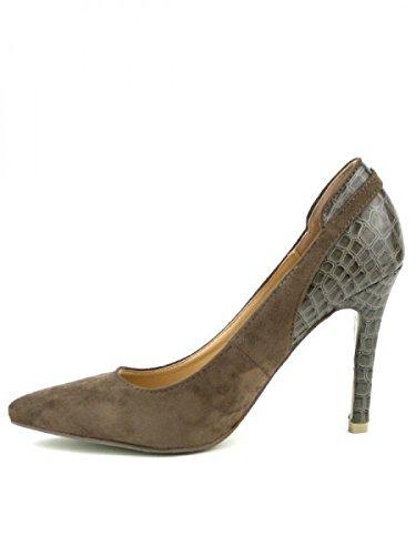 Cendriyon, Escarpin Bi matière CROANA Mode Chaussures Femme Marron