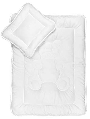 KiGaTex Baby Bettdecken Set mit Bärchensteppung 30x35 + 60x80 cm Öko-Tex Standard 100 Zertifiziert
