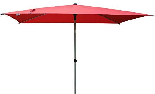 SORARA Parasol Jardin | Rouge | 300 x 200 cm (3 x 2 m) | Rectangulaire Porto | Commande à Manivelle (Pied excl.)