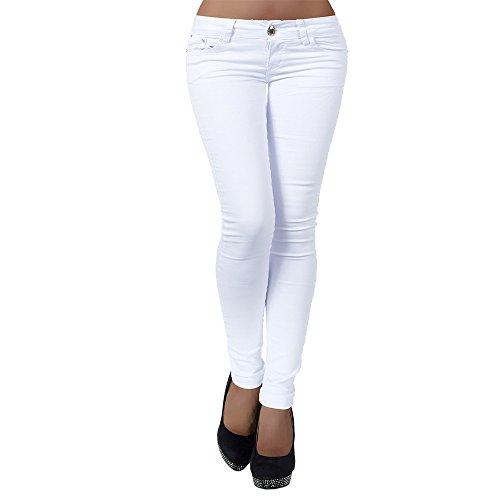 H937 Damen Jeans Hose Hüfthose Damenjeans Hüftjeans Röhrenjeans Röhrenhose Röhre, Farben:Weiß;Größen:36 (S)