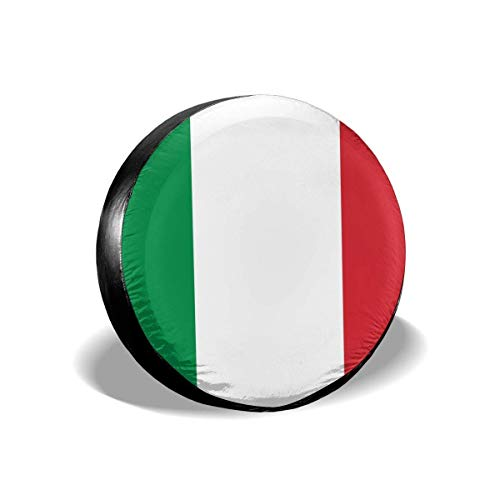 Vbnbvn Spare Wheel Cover, Italian Flag Potable Polyester Universal Spare Wheel Tire Cover Wheel Covers Jeep Trailer RV SUV Truck Camper Travel Trailer Accessories 16 in