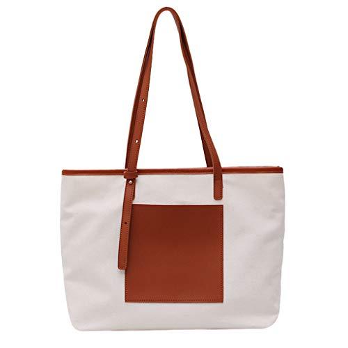Tohole Damen Vintage Tote Beutel Schultertasche Handtasche Mode Handtasche Messenger Bag Einfache Einkaufstasche Der Leinwand Handbag(braun)