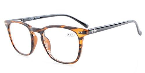 Eyekepper Leser Qualität Federscharniere Platz Keyhole Stil Lesebrille Amber Rahmen Schwarz Arms+1.5 (Amber Reißverschluss)