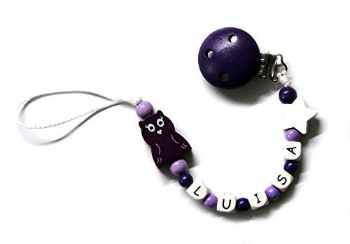 Preisvergleich Produktbild Baby Mädchen Schnullerkette mit Perlen aus Holz und Wunschname. Weiß Lila mit eule (LUISA)