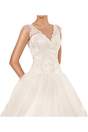 Ivydressing Romantisch Neu 2017 Elfenbein Spitze Ballgown V-Neck Tuell Hochzeitskleider Lang Brautkleider Elfenbein