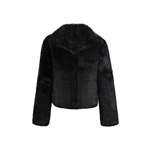 Yuandian donna autunno inverno casual tinta unita corto risvolto pelliccia sintetica giubbotto morbido caldo elegante ecologica finta pellicce ecopelliccia cappotti giacche nero xl