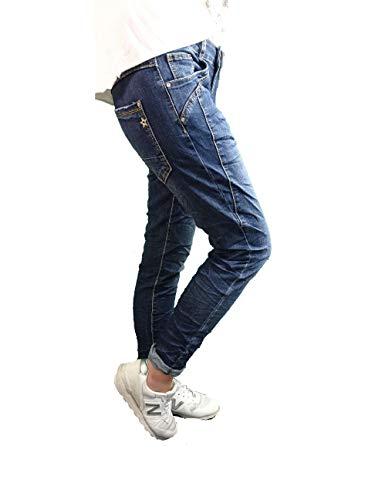 Karostar by Lexxury Denim Stretch Baggy-Boyfriend-Jeans Boyfriend 4 Knöpfe offene Knopfleiste weitere Farben Dark Denim Special M-38 -