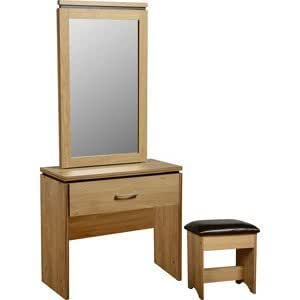Charles Dressing Table Set With A Mirror And Stool Oak