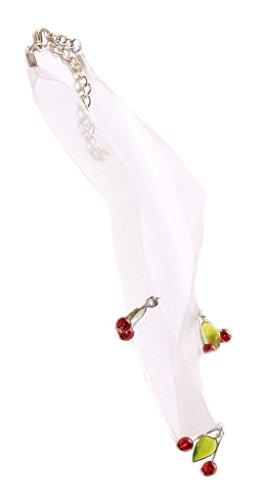 Gorgeous weiß Sheer & Cute Cherry Charms Halskette Choker verstellbar. (ZX125) - Sheer Cherry