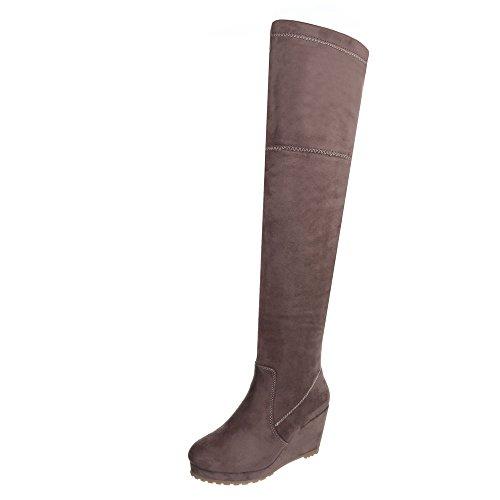 Ital-Design Overknees Damen-Schuhe Klassischer Stiefel Keilabsatz/Wedge Keilabsatz Reißverschluss Stiefel Hellbraun, Gr 37, L6269-