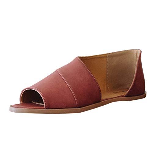 YEARNLY Retro Frauen Wohnungen Peep Toe Fisch Mund Schuhe Knöchel römische Damen Sandalen Stiefel Braun, Khaki, Rot 35-43