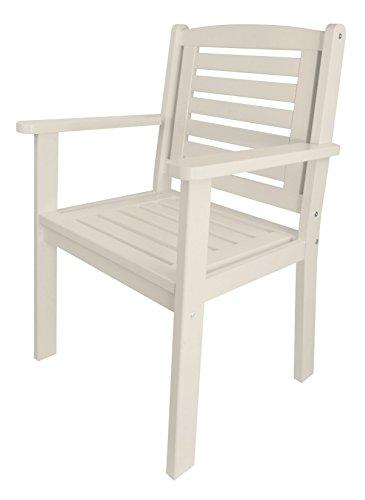 Esschert Design Chaise de Jardin avec accoudoirs en Bois Blanc, env. 63 cm x 56 cm x 96 cm