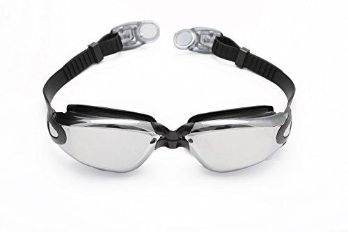 Profischwimmbrille von Bezzee Pro - gespiegelte Gläser - Antibeschlagbeschichtung - Wasserdicht - Anpassbar - Schwimmbrille für Erwachsene 180 ° Weitwinkel Sicht - Für Männer Frauen Kinder Jugendliche +10 - Beinhaltet ein GRATIS Schutzetui & Ohrstöpsel