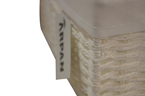 Arpan Geschenkkorb, Weidekorb mit Stoffeinsatz, traditionell weiß mit Deckel, Weihnachten, klein - 6