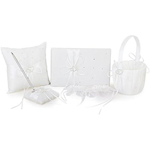 SODIAL (R) Avorio doppio cuore Diamante Matrimonio Libro degli Ospiti, Penna, cuscino dell'anello, Cestino di fiore, Reggicalze Set