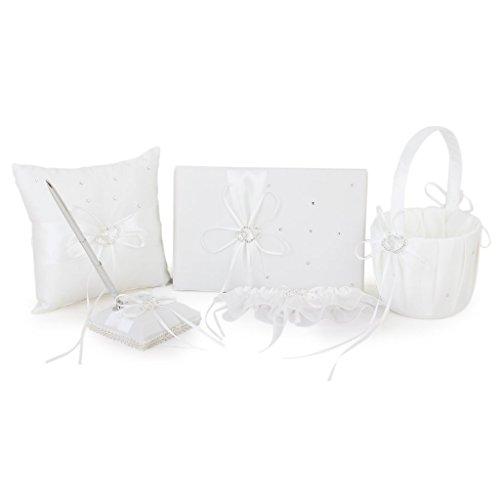 Gleader Avorio doppio cuore Diamante Matrimonio Libro degli Ospiti, Penna, cuscino dell'anello, Cestino di fiore, Reggicalze Set - Cuscino Dell'anello Set