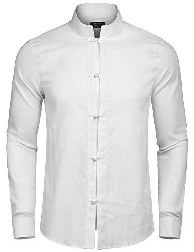 Coofandy Herren Hemd Leinenhemd Langarm Regular Fit Stehkragen Einfarbig Freizeithemd für Männer weiß l