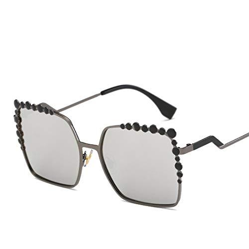 Jsfnngdv Übergroße Sonnenbrille Gradient Metal Frame Glasses (Color : A)