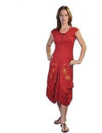 Damen Kurzarm Wadenlänge Kleid mit Blumen-Stickerei Gedruckt auf den Taschen.