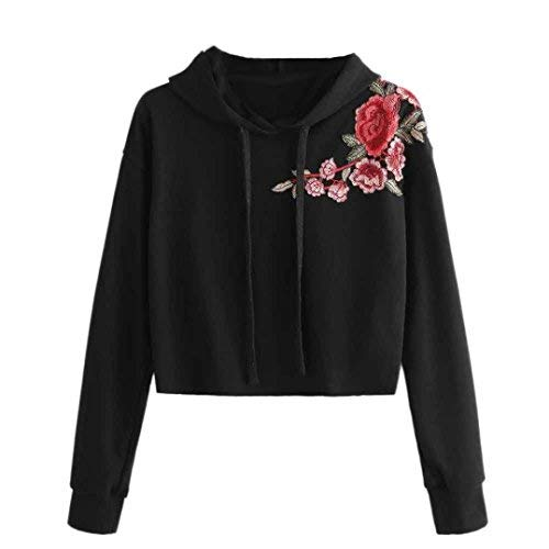 HCFKJ Classic Women Embroidered Sweater Hoodies Pullover Long Sleeve Shirt for Ladies Teen Girls (M, Black)