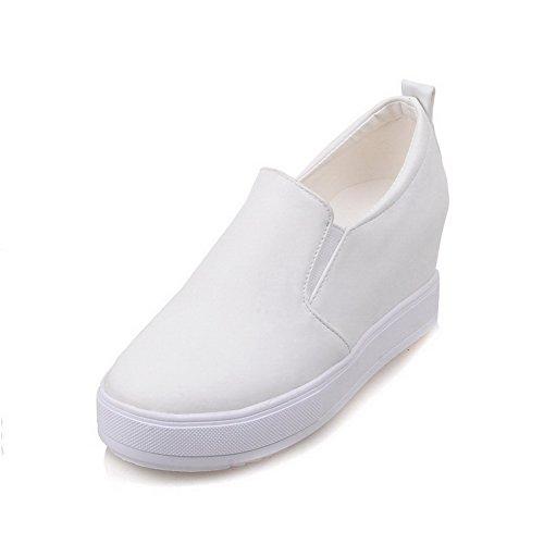 VogueZone009 Damen Mittler Absatz Pu Leder Rein Rund Zehe Pumps Schuhe Weiß