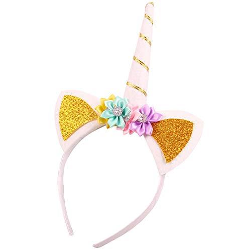 Waroomss Einhorn Stirnband Gold glänzend Einhorn Geburtstag Blumen Stirnband für Mädchen Erwachsene Halloween Kostüm, Weihnachten Einhorn Party