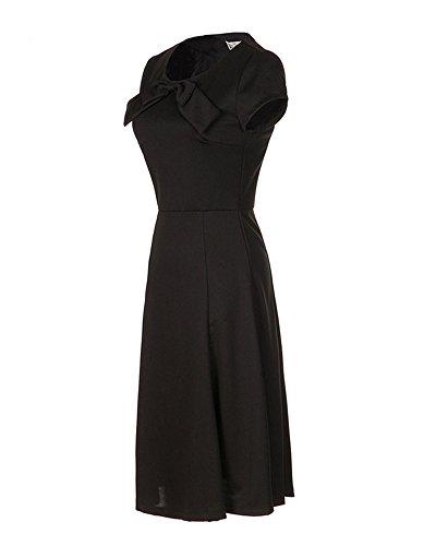 ZongSen Femme Élégant Rond Col Wiggle 50S Style Vintage Parti Cocktail Robes Noir