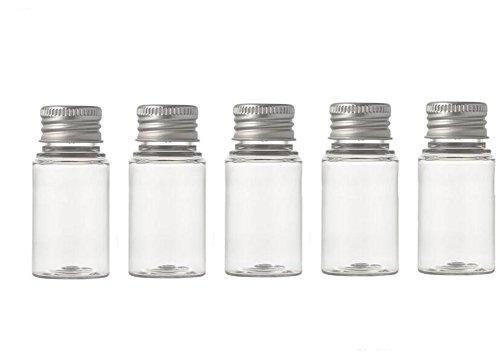 Pet, transparent Kunststoff Gläser kleinen Behältern mit Aluminium silber Deckel für Kosmetik Reise ätherischen Ölen Pulver Cremes Salben Pille Medizin Lagerung Organizer Container Fall 6Stück -