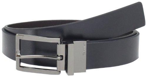 Calvin Klein Men's 32mm Reveversible Flat Strap Buckle, Black/Brown, 36