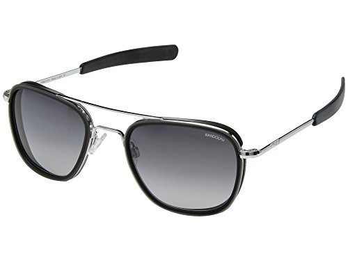 Randolph Engineering Herren-Sonnenbrille Aviator Fusion 55 mm ONE SIZE Bright Chrome/Bajonett/grau Farbverlauf Nylon/matt Smoke