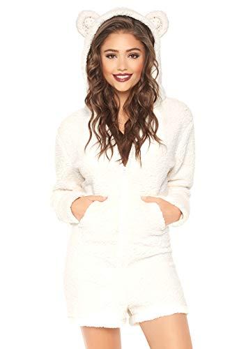 Leg Avenue 8664202015 Fuzzy Polarbären Strampler Damen Kostüm mit Taschen und Hoody, Elfenbein, Größe M (EUR 38/40)